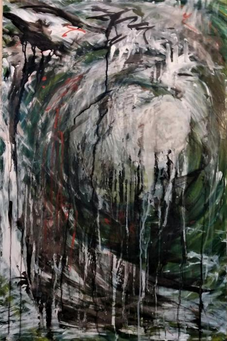 "Abstract, painting in  greens,  oblong,  36"" x 24"" painting acrylic on panel"
