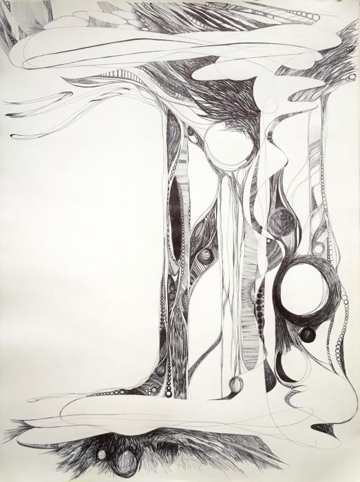 """Unt""Untitled VIII""  ball point pen on paper  24"" x 18"""