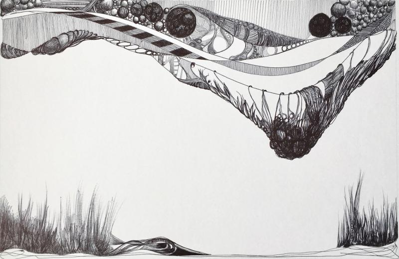 """""""Untitled   P""""      Ball point pen drawing on paper  8.5"""" x 13.25"""""""