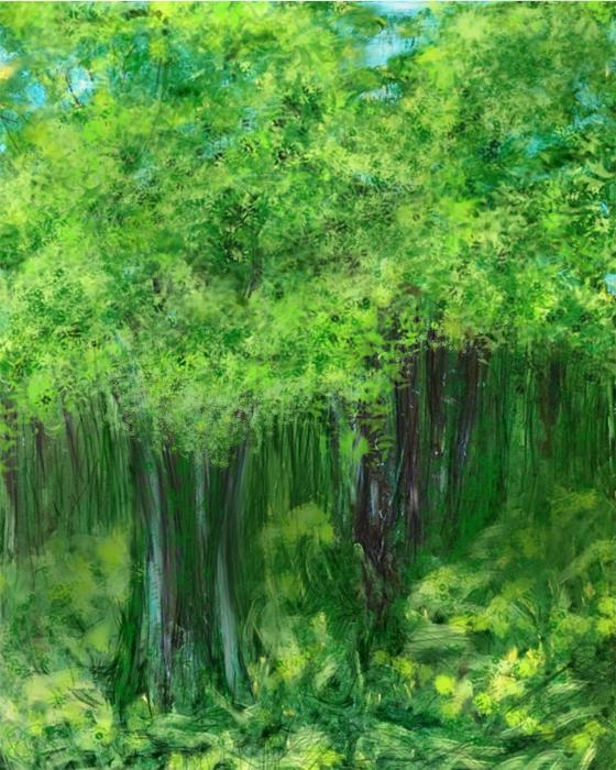 """Trees""  D""Trees""  Digital acrylic painting with digital enhancement  10"" x 8"""